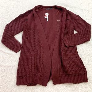 Rdi burgundy distressed open front fall cardigan